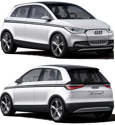 Présentation officielle du concept-car Audi A2 Concept, un concept de véhicule compact urbain électrique. <br> Sa technologie est poussée: commandes by-wire 100% électrique, présence de touchpads pour interagir avec le véhicule.