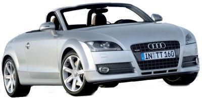 L'Audi TT Roadster est la version découverte de l'Audi TT. Avec un caractère sportif affirmé par la présence d'un V6 atmospéhrique de 3,2L de cylindrée et de 250 ch, son châssis a dû être revu et rigidifié spécifiquement pour compenser l'absence des renforts de toît.