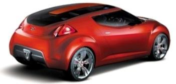 Présentation du concept-car <b>Hyundai Veloster</b>: coupé sportif 2+2, combinant design, robustesse, économie. Destiné aux moins de 30 ans.