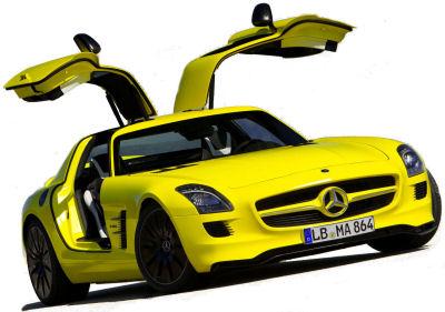 Présentation du concept-car <b>Mercedes-Benz SLS AMG E-Cell</b> de 2011: une Mercedes SLS AMG propulsée par quatre moteurs électriques, quasiment aussi performante que la SLS AMG avec moteur thermique ! Vraie révolution ou poudre aux yeux écologiste?