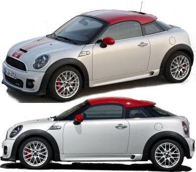 Cette <b>MINI Coupé</b> originale, stricte 2 places, ressemble fortement au concept car MINI Coupé Concept.