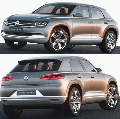 Le VW Cross Coupé Concept de 2012 est un concept-car de SUV compact coupé, très inspiré de l'Audi Q3, qui présente la nouvelle identité VW au niveau de la calandre.